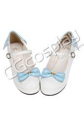 画像1: 激安! 秋冬 青リボン プラットフォーム・ソール 厚底 靴 ブーツ 大人 女性   (1)