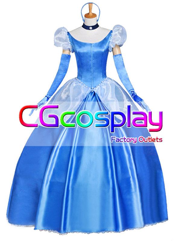 画像1: 激安!! ディズニー シンデレラ ドレス コスプレ衣装 (1)