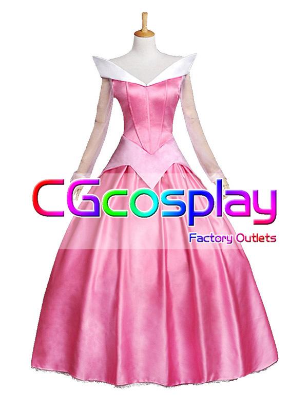 画像1: 激安!! ディズニー 眠れる森の美女 ドレス ピンク コスプレ衣装 (1)