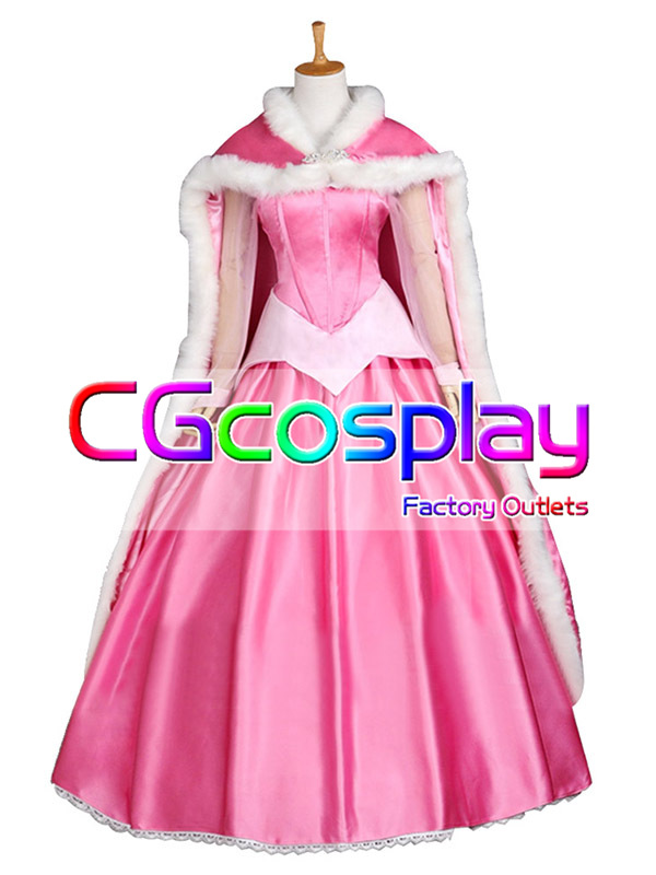 画像1: 激安!! ディズニー 眠れる森の美女 ドレス ピンク マント付き コスプレ衣装 (1)