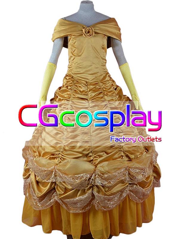 画像1: 激安!! ディズニー 美女と野獣 ベル コスチューム (2nd) コスプレ衣装 (1)