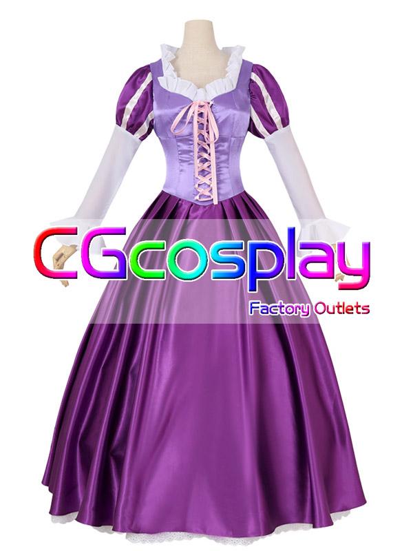 画像1: 激安!! ディズニー 塔の上のラプンツェル ラプンツェル(Rapunzel) コスプレ衣装 (1)