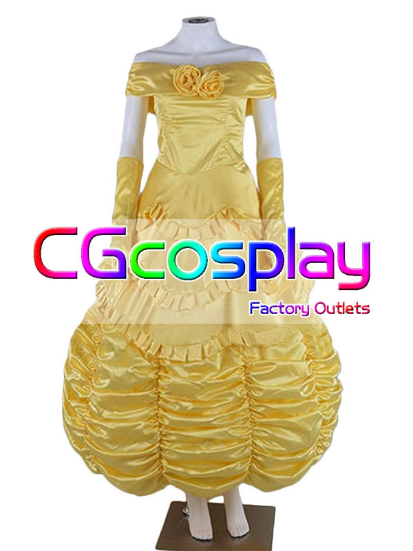 画像1: 激安!! ディズニー 美女と野獣 ベル コスプレ衣装 (1)
