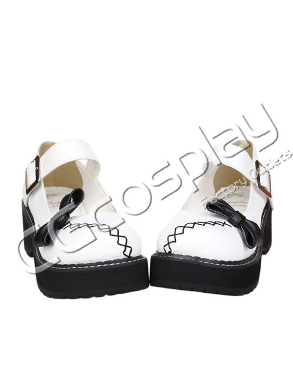 画像1: 激安! 厚底靴 黒リボン 靴 ブーツ 大人 女性   (1)
