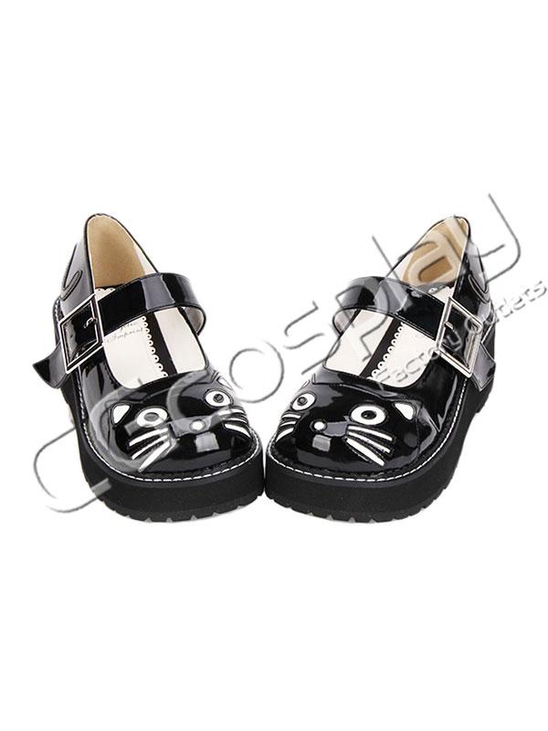 画像1: 激安! 猫 ロリータ プラットフォーム・ソール 厚底 靴 ブーツ 大人|女性|  (1)