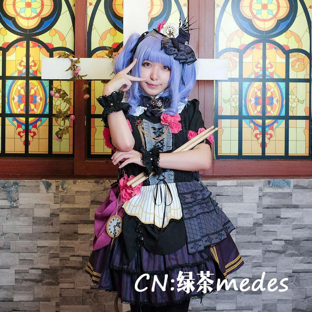 画像1: 激安!! BanG Dream!(バンドリ) Roselia「Neo-Aspect」 宇田川あこ コスプレ衣装 (1)