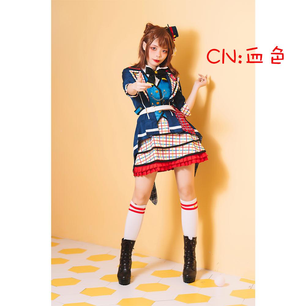 画像1: 激安!! BanG Dream!(バンドリ!) 7th☆LIVE Poppin'Party アニメ 2nd Season OP 新衣装 戸山 香澄 コスプレ衣装 (1)