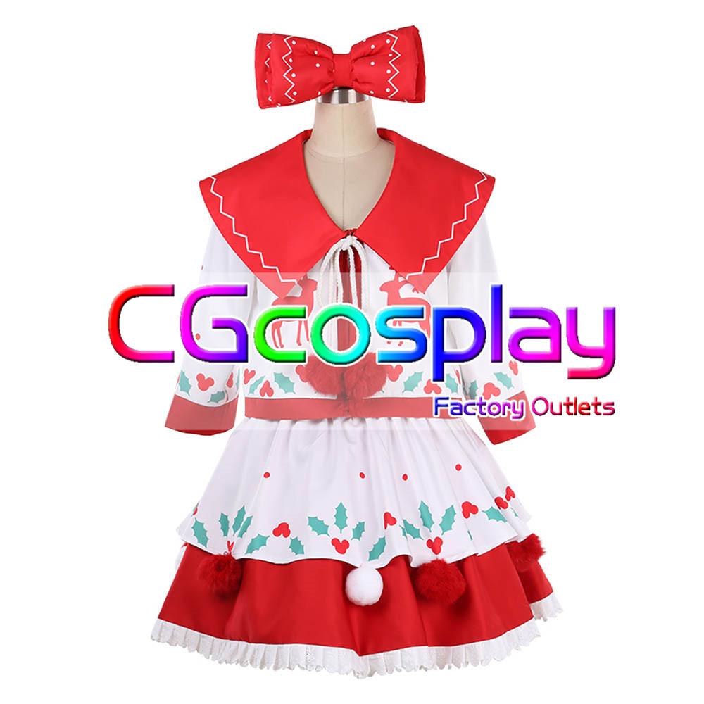 画像1: 激安!! 東京ディズニーランド クリスマス ミニーマウス  コスプレ衣装 (1)