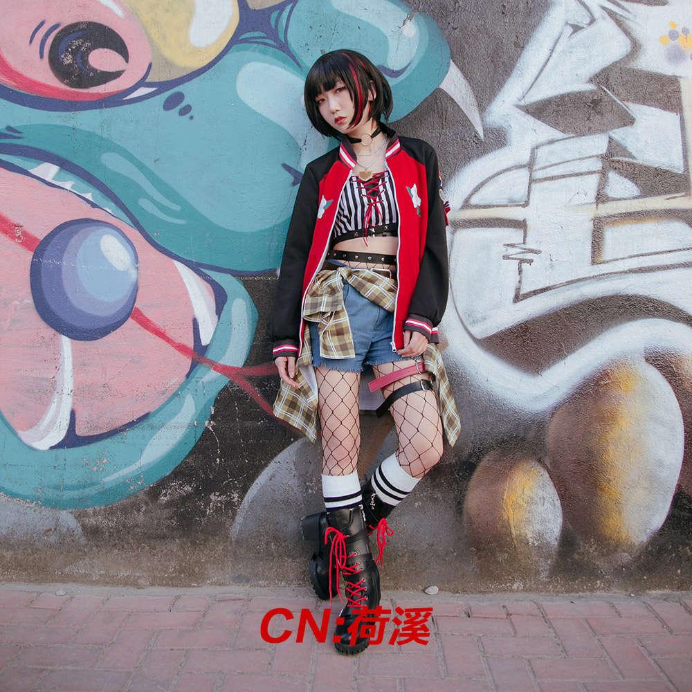 画像1: 激安!! BanG Dream!(バンドリ) Afterglow 疾駆の空/2周年 美竹 蘭 コスプレ衣装 (1)